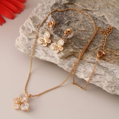 Butterfly Designed Gold Plated Necklace Set