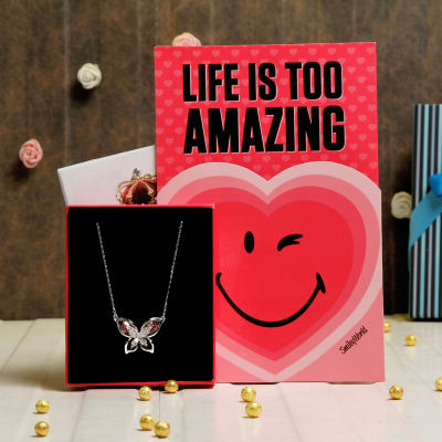 butterfly shaped swarovski necklace with romantic greeting card