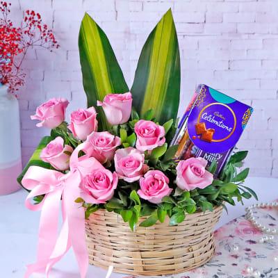 Cadbury Chocolates with Pink Roses in Basket Arrangement