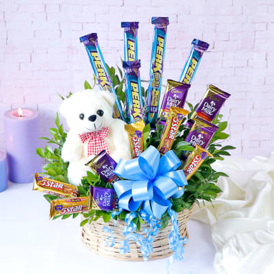 Cadbury Chocolates with Teddy in Basket Arrangement