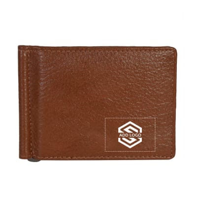 Camel Tan Vintage Grained Leather Men's Wallet - Customizable with Logo