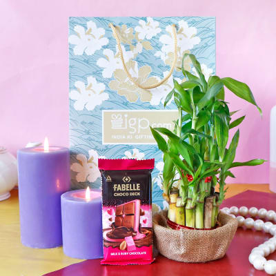 Candles in Goodie Bag with Lucky Bamboo