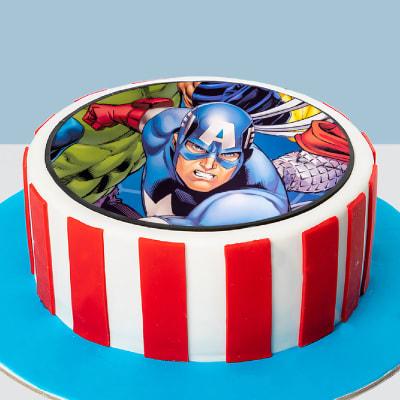Captain America Photo Fondant Cake (1 Kg)