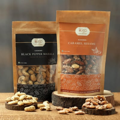 Cashews Black Pepper Masala and Almonds Caramel Sesame Combo