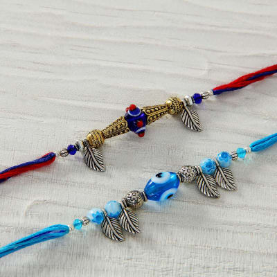 Cat Eye with Metal work Set of 2 Rakhi