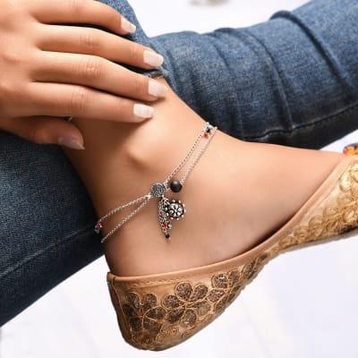 Charming Beaded Oxidised Anklet