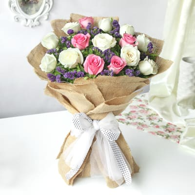 Charming Bunch of Roses and Statices