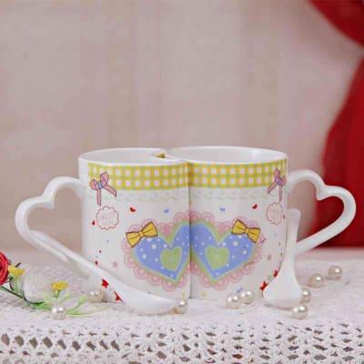 Charming Coffee Mug Set with Heart Design