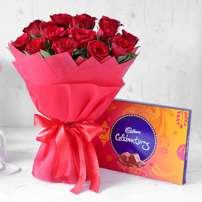 Charming Red Rose Bouquet with Cadbury Celebrations