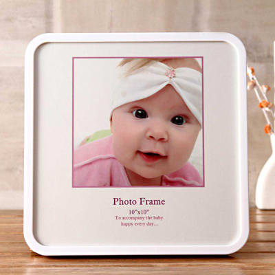Personalized baby shower gifts online send personalized gifts to charming white personalized square photo frame negle Images