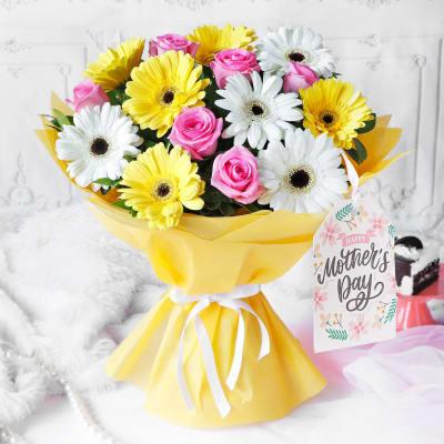 Cheerful Gerberas & Roses for Mom