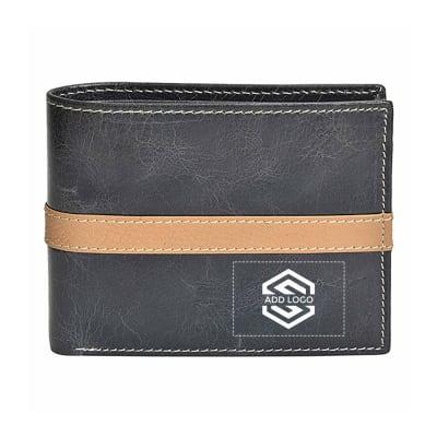 Cherry Black Grain Leather Men's Wallet - Customizable with Logo