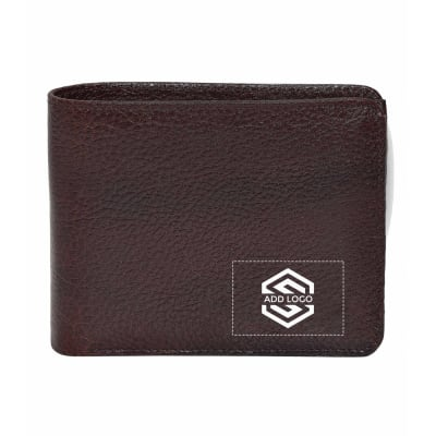 Cherry Brown Grain Leather Men's Wallet - Customizable with Logo