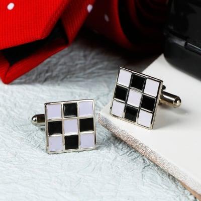 Chess Board Square Men's Cufflinks