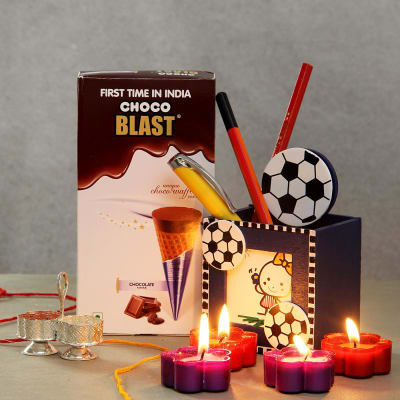 Choco Waffel Pack With Desk Organiser And Scented Tealight