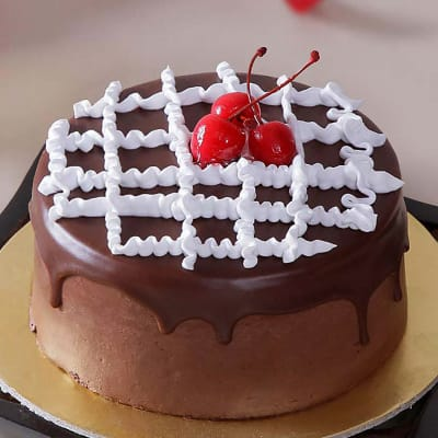 Chocolate Cake Topped with Cream and Cherries (2 Kg)