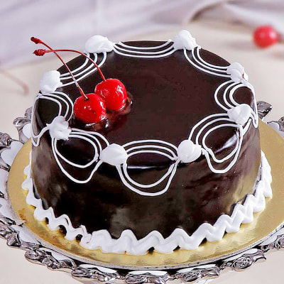Chocolate Cake With Cherry Toppings Half Kg