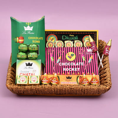 Chocolate Crackers Diwali Hamper in Jute Basket