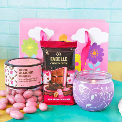 Chocolate Hamper with Candle in Goodie Bag