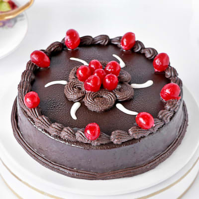 Chocolate Truffle Cake with Cherry Toppings (Half Kg)