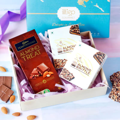 Chocolate with Almond Brittle Cookies in Gift Box