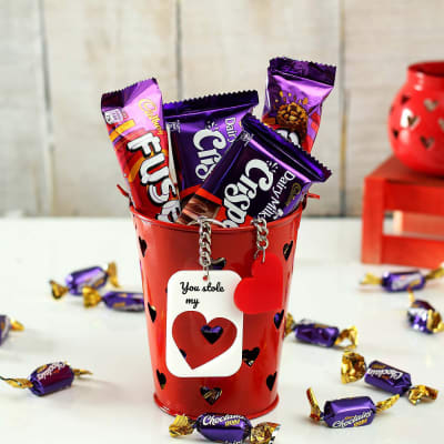 Chocolates and Couple Keychain in Red Iron Bucket
