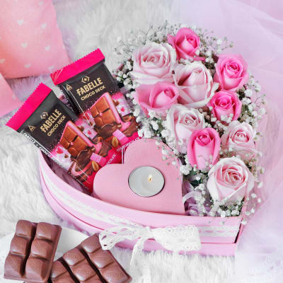 Chocolates & Roses Hamper in Heart Shaped Gift Box