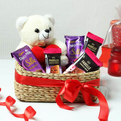 Chocolates with Teddy Bear in Seagrass Basket