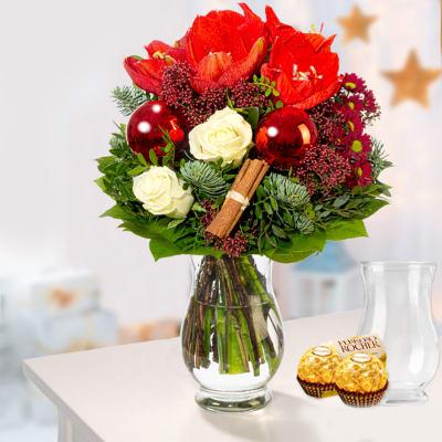 Christmas bouquet with vase & 2 Ferrero Rocher