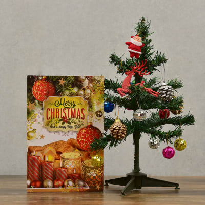 Christmas Tree with Decorative Item and Greeting Card