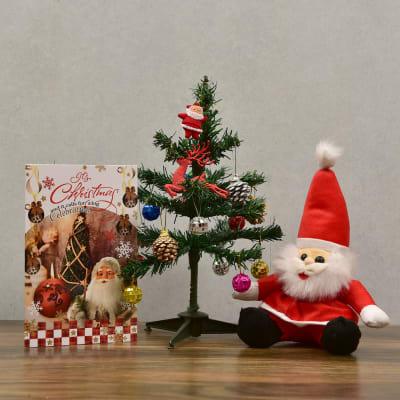 Christmas Tree with Decorative Items and Santa Teddy