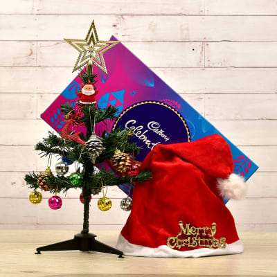 Christmas Tree with Decoratives and Cadbury Celebration Pack