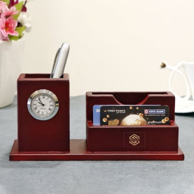 Classic Wooden Pen Holder with Clock - Customized with Logo