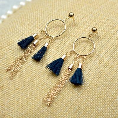 Classy Blue Tassel Dangling Earrings