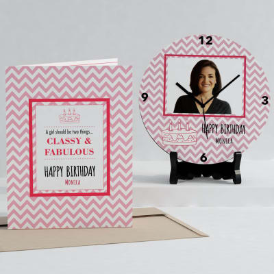 Classy & Fabulous Personalized Birthday Clock & Card combo