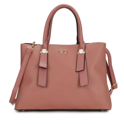 Classy Pink Satchel Bag with Metal Detailing