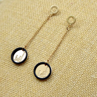 Classy Round Shaped Golden Metal Danglers