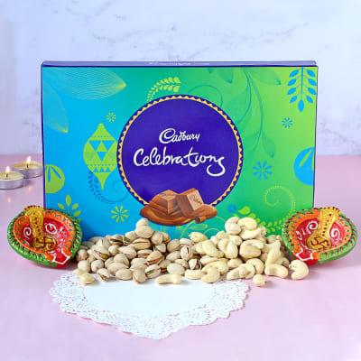 Clay Diya Set with Cadbury Celebrations & Dry Fruits