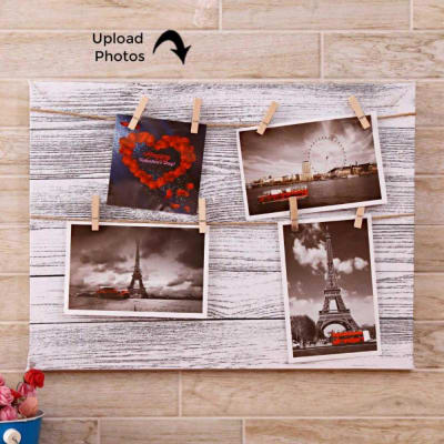 Clip On Personalized Collage Photo Frame With Canvas