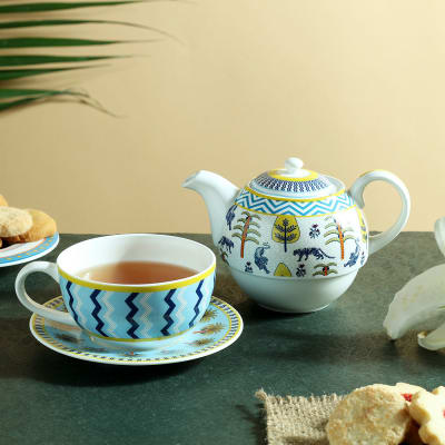 Coastal Colors Animal Print Tea Set