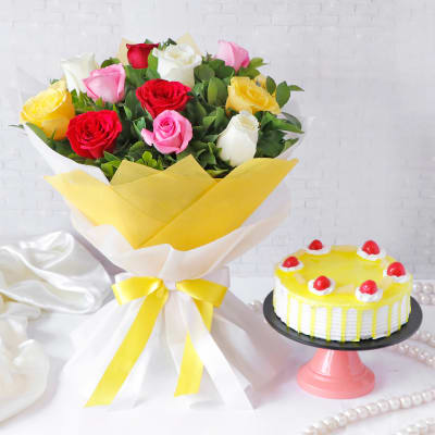 Colorful Assorted Roses Flower Bouquet with Pineapple Cake (Half Kg)