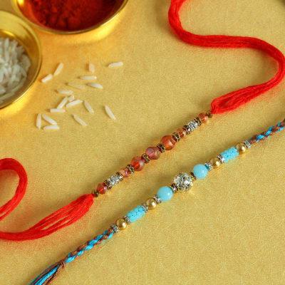 Colorful Bead Work Rakhi (Set of 2)