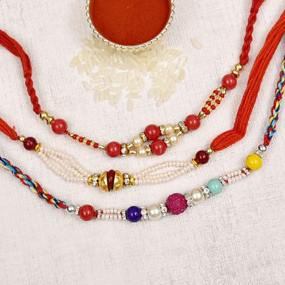 Colorful Beaded Set of 3 Rakhi