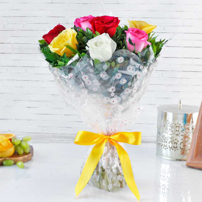 Colorful Bouquet of 8 Mixed Roses