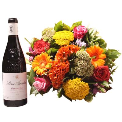 Colorful bouquet with Gigondas