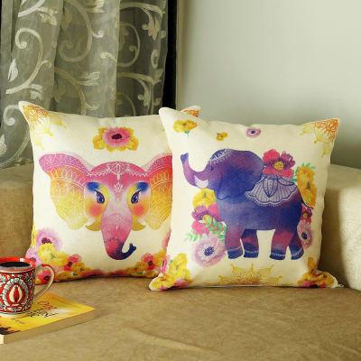 Colorful Elephant & Flower Design Jute Cushion (Set Of 2)