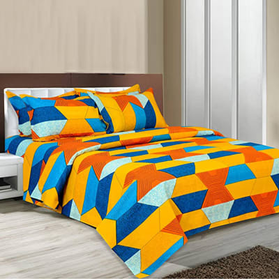 Colorful Geometric Design Double Bed Bedsheet