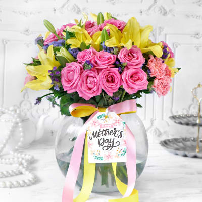 Colorful Mix Flowers in Vase for Mom