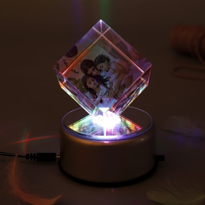 Colorful Personalized Rotating Crystal Cube With LED Gift Send Home And Living Gifts OnlineM11046756