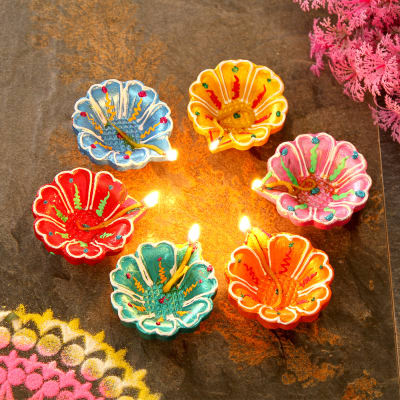 Colorful Set Of Six Clay Diyas Gift Send Diwali Gifts